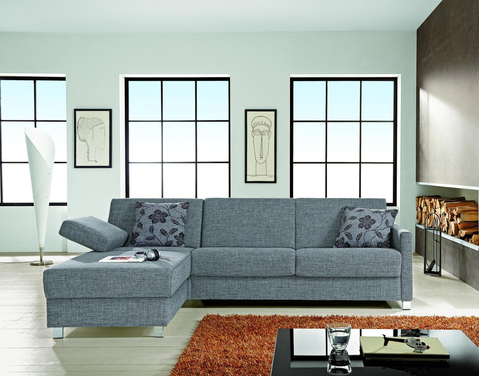 schlafsofa schlafcouch mit longchair und bettkasten von. Black Bedroom Furniture Sets. Home Design Ideas